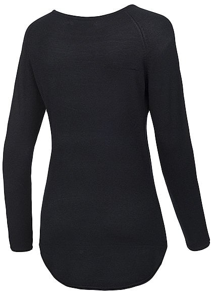 ONLY Damen NOOS Long Pullover mit Rollkante am Saum schwarz