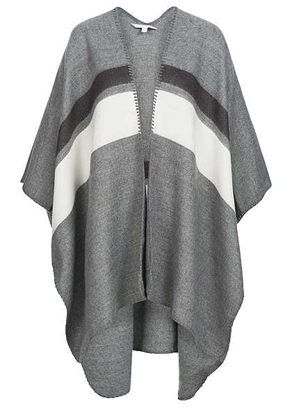 Eight2Nine Damen Poncho ohne Armlöcher gestreift by Fresh Made smoky grau melange