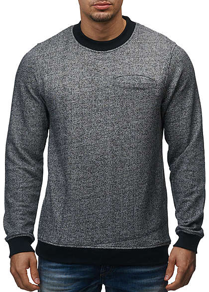 Jack and Jones Herren Sweater Crew Neck Brusttasche Regular Fit schwarz melange - Art.-Nr.: 15100638