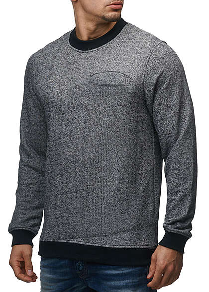 Jack and Jones Herren Sweater Crew Neck Brusttasche Regular Fit schwarz melange