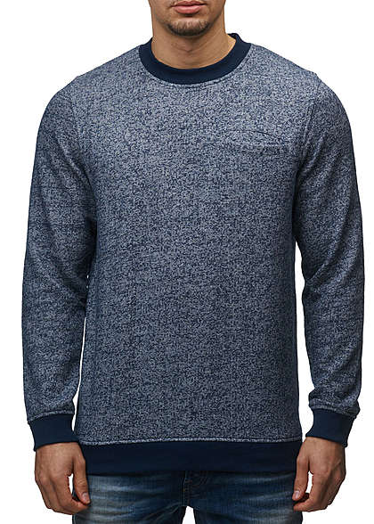 Jack and Jones Herren Sweater Crew Neck Brusttasche Regular Fit navy blazer melange - Art.-Nr.: 15100639