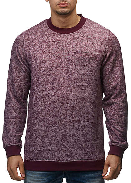 Jack and Jones Herren Sweater Crew Neck Brusttasche Regular Fit fig rot melange - Art.-Nr.: 15100640