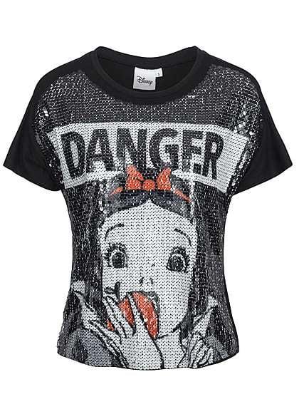Tally Weijl Damen T-Shirt Pailletten DANGER Motiv schwarz off weiss