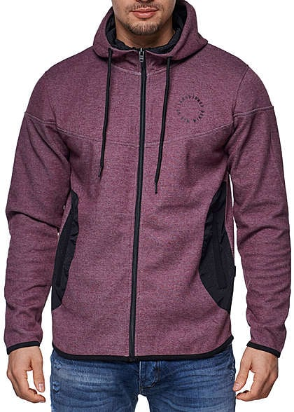 Jack and Jones Zip Hoodie 2 Taschen Kapuze Kordelzug Patches fig rot melange