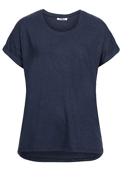 ONLY Damen T-Shirt NOOS Ärmel umgeschlagen lockerer Schnitt navy blazer -  77onlineshop 9081af0a27