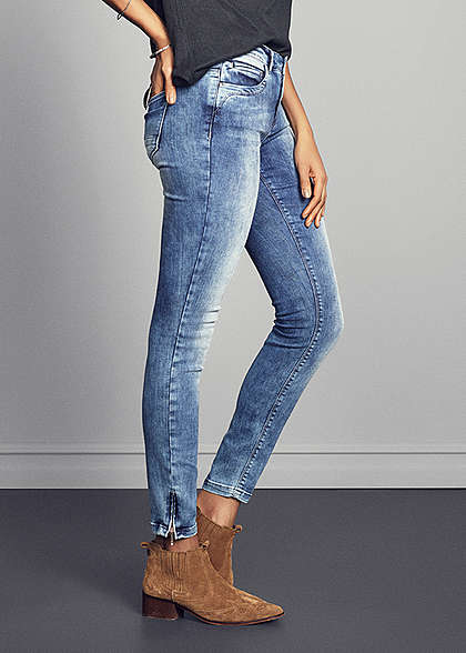 ONLY Damen Ankle Skinny Jeans 5-Pockets NOOS Zipper hell blau denim