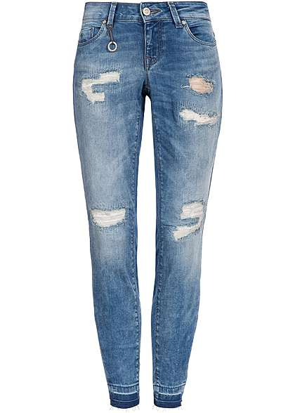 ONLY Damen Skinny Jeans 5-Pockets Knöchellang Destroy Look medium blue denim