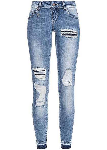 ONLY Damen Skinny Jeans 5-Pockets Destroy & Repair Look Knöchellang med bl denim
