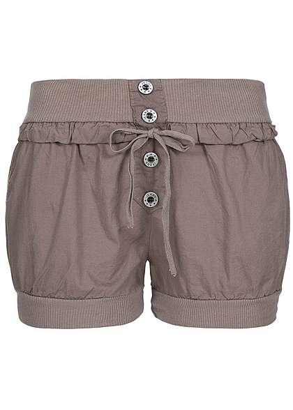 eff8b084a0e06b Styleboom Fashion Damen Short 2 Taschen Gummibund deko Knöpfe Kordelzug fango  braun - 77onlineshop