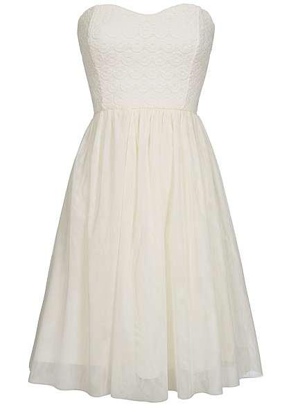 ONLY Damen Mini Bandeau Kleid Rückenausschnitt Tüll Spitze Gummizug marshmallow weiss