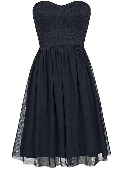 ONLY Damen Mini Bandeau Kleid Rückenausschnitt Tüll Spitze Gummizug night sky