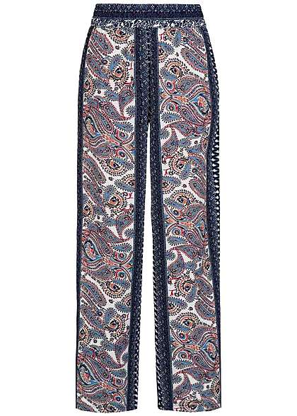 JDY by ONLY Damen Sommer Hose Paisley Muster navy cloud dancer weiss