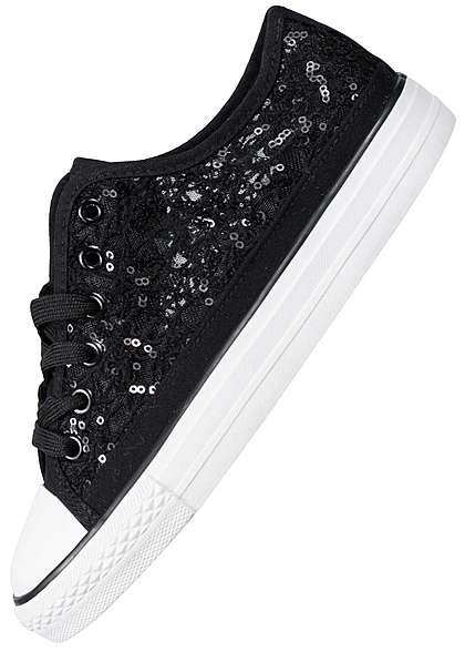 Seventyseven Lifestyle Damen Sneaker Pailletten schwarz weiss