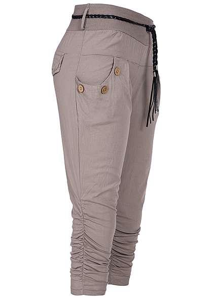 ed384ddd5c6882 Styleboom Fashion Damen Capri Hose Bindegürtel 2 Taschen deko Knöpfe fango  braun - 77onlineshop