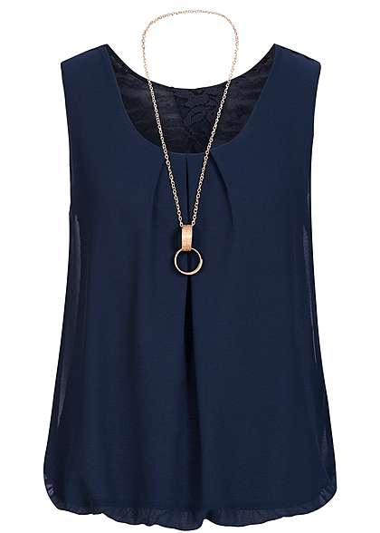 Styleboom Fashion Damen Chiffon Top mit Kette navy blau