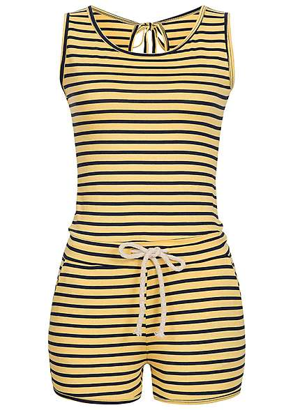 Styleboom Fashion Damen Jumpsuit 2 Taschen Kordelzug gestreift gelb navy -  77onlineshop dc1c81dd6f