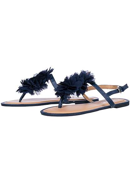 Hailys Damen Toe Post Flower Tulle Sandals navy blau