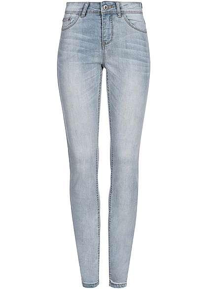 Eight2Nine Women Eight2Nine Damen Skinny Jeans Mid Waist 5-Pocket Style by Rock Angel light blue denim