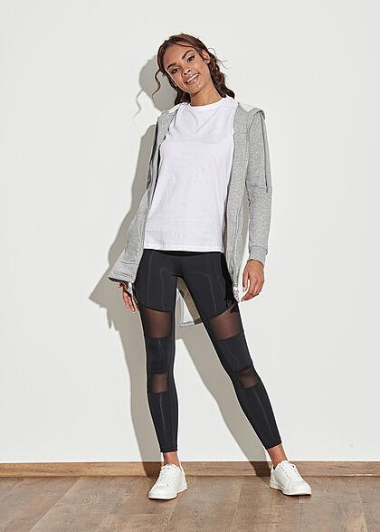 Urban Classics Damen Leggings Gummibund Mesh Details schwarz