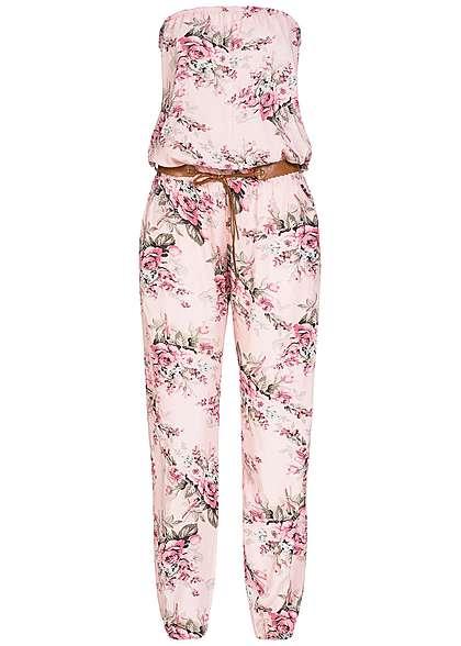Styleboom Fashion Damen Bandeau Jumpsuit 2 Taschen Blumen Bindegürtel rosa  - 77onlineshop 1670493fb2