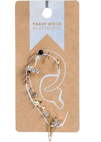 Tally Weijl Damen Ohrstecker diverse Designs 11 Stecker & 1 Clip Strass goldfarben