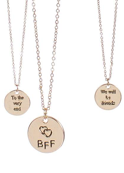 Tally Weijl Damen Halskette 2er Set Best Friends Forever gold farben