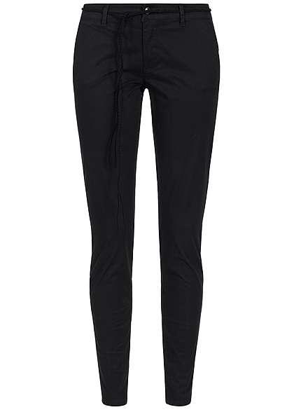 ONLY Damen Chino Hose mit Bindegürtel 2 Taschen deko Taschen hinten schwarz  - 77onlineshop 80acf7b8a3