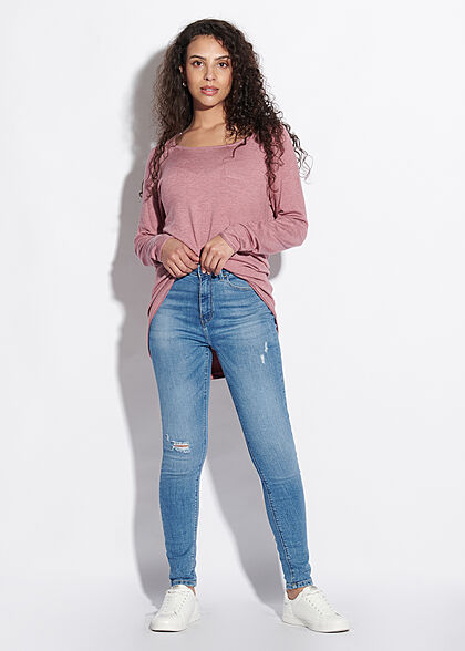 ONLY Damen NOOS Long Pullover mit Rollkante am Saum mesa dunkel rosa