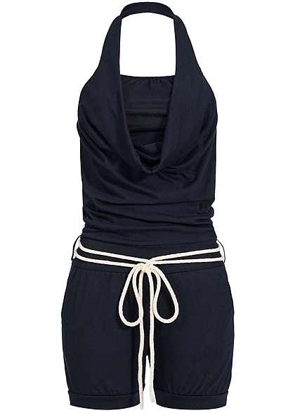 Styleboom Fashion Damen Neckholder Jumpsuit Kordel 2 Taschen navy blau -  77onlineshop e9f75f681e
