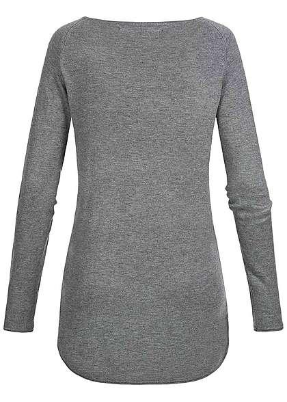 ONLY Damen NOOS Long Pullover mit Rollkante am Saum medium grau melange