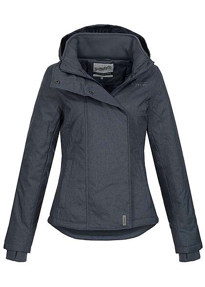 Eight2Nine Damen Winter Jacke abn Kapuze 2 Taschen by Sublevel d blau melange