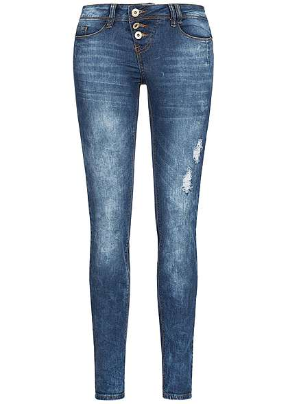 Eight2Nine Damen Skinny Jeans asym 3er Knopfleiste 5-Pockets by Rock Angel dark blue denim
