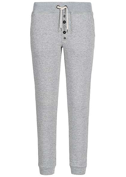 Eight2Nine Damen Sweat Pant 2 Taschen Gummibund deko Knöpfe by Sublevel grau mel