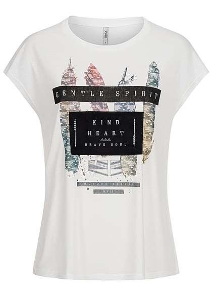 ONLY Damen Shirt Kurzarm lockerer Schnitt Kind Heart Print cloud dancer weiss