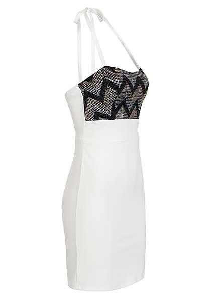 Styleboom Fashion Damen Mini Neckholder Kleid Brustpads Zipper Glitter Optik weiss