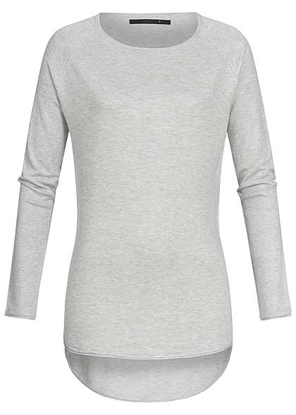 ONLY Damen Sweater Rollkante NOOS hell grau melange