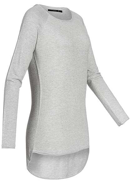 ONLY Damen Sweater Rollkante NOOS hell grau melange