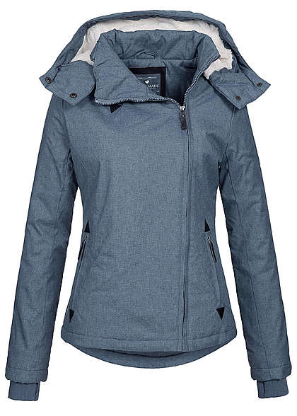 size 40 a484e 9da8b Eight2Nine Damen Winter Jacke wasserabweisend asym Zipper by Fresh Made  pigeon blau mel