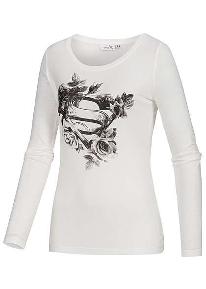 Eight2Nine Damen Longsleeve Supergirl Logo Blumen Muster by Sublevel off weiss