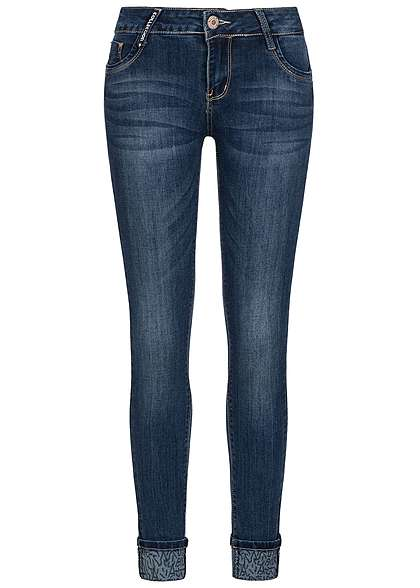 Seventyseven Lifestyle Hose Damen Jeans 5-Pockets Slim Fit Aufschlag medium blau denim