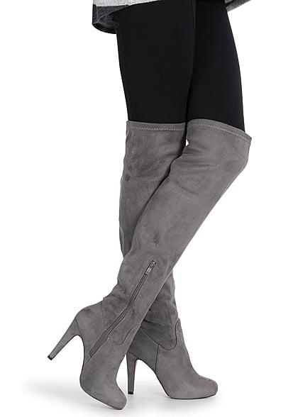 13be84e409c Seventyseven Lifestyle Schuh Overknee Stiefel schmaler Absatz 11cm Zipper  grau - 77onlineshop