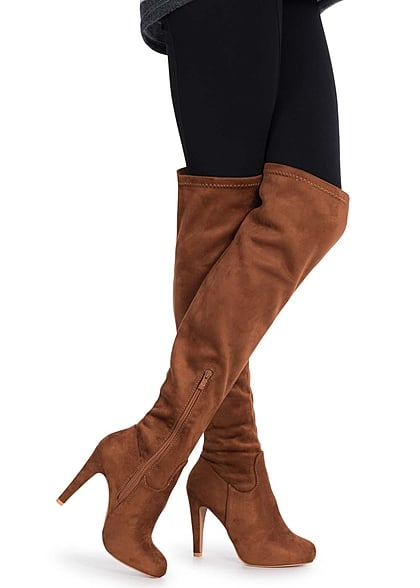 adb4efabbcc5a9 Seventyseven Lifestyle Schuh Overknee Stiefel schmaler Absatz 11cm Zipper  camel braun - 77onlineshop