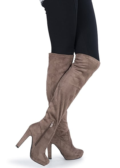 online store 80f35 2a634 Seventyseven Lifestyle Schuh Overknee Plateau Stiefel Absatz 12cm Zipper  khaki braun