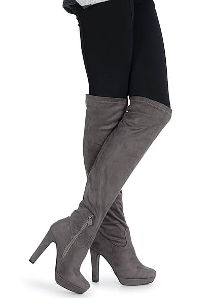 free shipping b2bef d604f Seventyseven Lifestyle Schuh Overknee Plateau Stiefel Absatz 12cm Zipper  grau