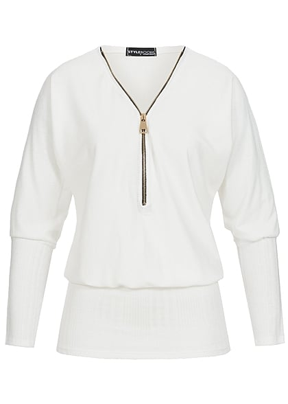 Styleboom Fashion Damen Longform Fledermaus Shirt Zipper breiter Bund off weiss