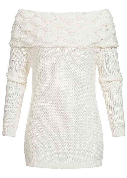 Styleboom Fashion Damen Strick Sweater weiter Rollkragen Rauten Muster off weiss