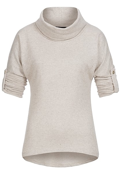 Styleboom Fashion Damen Turn-Up Sweater Rollkragen beige melange