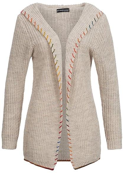 cardigan damen strick beige sweater vest. Black Bedroom Furniture Sets. Home Design Ideas