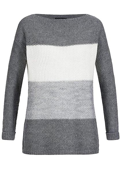 buy popular 0cdc1 e1149 Styleboom Fashion Damen Strick Sweater gestreift lockerer Schnitt dunkel  grau off weiss