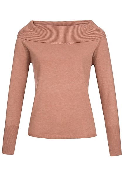 ONLY Damen Strick Pullover Off Shoulder weiter Rollkragen Rippbündchen rose dawn